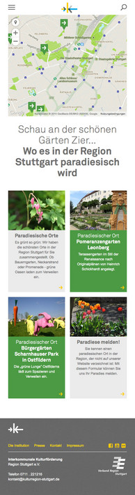 KulturRegion Stuttgart Website als mobile Ansicht