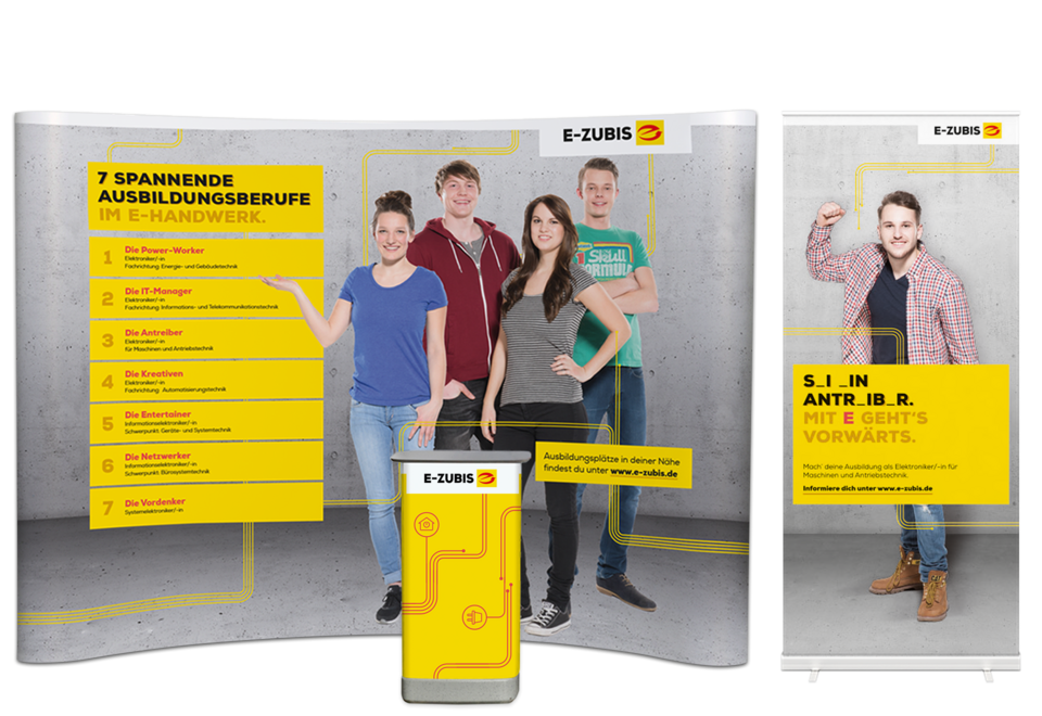 Messedisplay Systeme Nachwuchs Recruiting Roll-Up Faltdisplay E-Zubis
