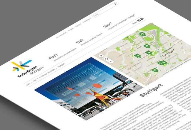 KulturRegion Stuttgart Website Design mit Google-Maps Integration